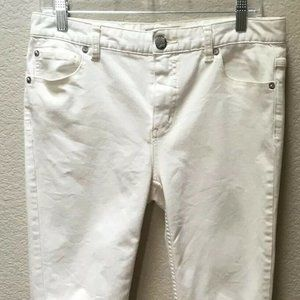 Free People Jeans White Skinny Stretch Distressed
